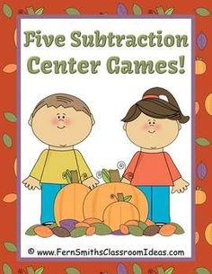 Subtraction Centers for Fall and Autumn - Five Different Strategies IF YOUR SCHOOL DOES NOT ALLOW HALLOWEEN, THIS IS A TERRIFIC LITTLE CENTER TO STILL HAVE SOME FALL-TIME FUN! 50 Pages Total! #TPT $Paid