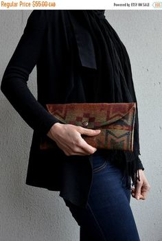 Clutch Purse Navajo Clutch Wool Clutch Evening by SaracinoDesigns