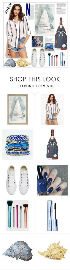 """""""Shein.Vertical Striped Hidden Button Shirt"""" by natalyapril1976 ❤ liked on Polyvore featuring Hipanema, Harvest Label, Converse and Estée Lauder"""