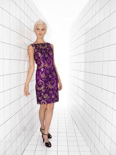"Sheath Dress ""Spacegirl"" in Purple Silk Brocade. €380.00, via Etsy."
