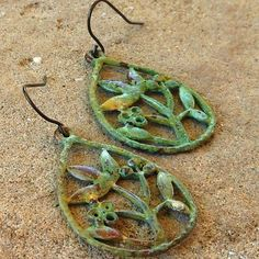 FUN fund  green patina floral earrings by lluviadesigns on Etsy