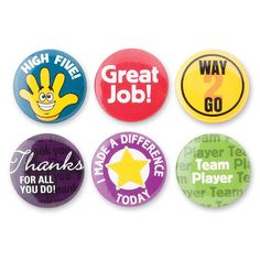 Good Job Recognition Reward Mini Buttons 48 Per Pack SmileMakers http://www.amazon.com/dp/B00C7A4GI8/ref=cm_sw_r_pi_dp_9mqxub1C61K88