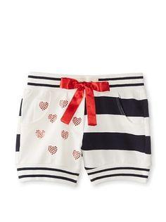 Monnalisa Girl's Striped Shorts (White/Blue/Cream)