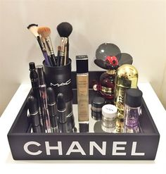 Love this Chanel tray for the bathroom for all my beauty products