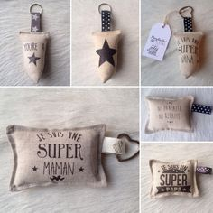 """Adept of """"Home made"""" and passionate about decoration, I tinker with my in . Keychain Design, Dog Keychain, Lavender Bags, Diy Papier, Creation Couture, Couture Sewing, Mobiles, Diy Gifts, Sewing Crafts"""