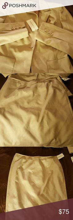 Calvin Klein Skirt Suit Tan with tan lines Calvin Klein Skirts Pencil