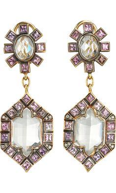 Gojee - White Topaz & Pink Sapphire Earrings by Cathy Waterman