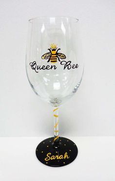 One 17.5 oz wine Libbey glass  Crown yourself the Queen Bee....  This glass has been hand painted with a Queen bee decked out with a golden