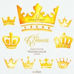 Watercolor Crown. Clipart Elements. Queen King от ReachDreams