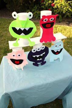 Monster Birthday Party - monster knockout game DIY