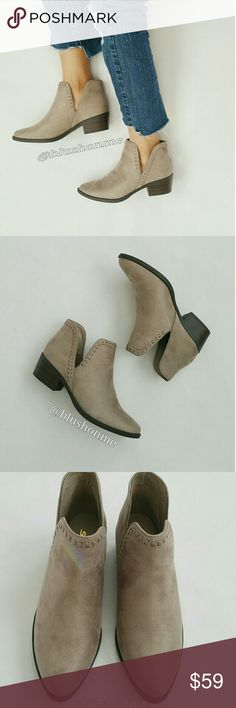 "Slip On Side Cut Booties - Clay @blushonme at Poshmark   Slip On Side Cut Vegan Suede Booties - Clay  Featuring braid detailed, slip on no fuss, and side cut.  Heel - 2 3/4"" True to size   ● PRICE IS FIRM ● Shoes Ankle Boots & Booties"