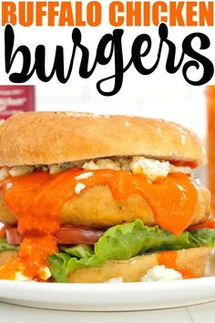 Buffalo Chicken Burgers made with savory chicken patties, spicy buffalo wing sauce, and crumbled blue cheese are a 'yes' any day of the week! Best Lunch Recipes, Entree Recipes, Grilling Recipes, Veggie Recipes, Favorite Recipes, Easy Recipes, Dinner Recipes, Amazing Recipes, Healthy Recipes