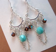Blue and Brown Swarovski Crystal Chandelier Earrings