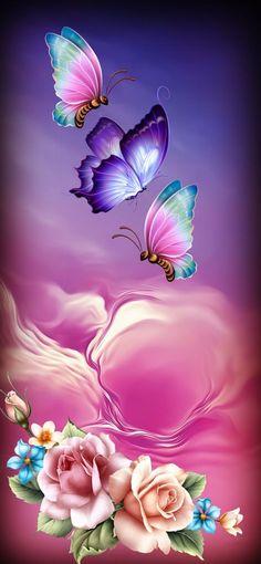 Roses&Butterflies Wallpaper … Unknown by artist … Purple Butterfly Wallpaper, Butterfly Background, Flowery Wallpaper, Flower Background Wallpaper, Flower Phone Wallpaper, Scenery Wallpaper, Cellphone Wallpaper, Wallpaper Backgrounds, Iphone Wallpaper