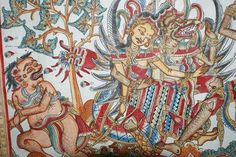 The faces of gods and refined good humans are light brown or beige, while bad characters are brown and red. The most powerful, oldest and highest in rank are also the biggest. Bali Painting, Bali Restaurant, Javanese, Wild Creatures, Bali Wedding, 15th Century, Embedded Image Permalink, Troy, Surrealism
