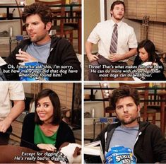 Champion -- Champion -- Parks and Recreation. Ben, April and Andy Parks And Rec Memes, Parks And Recreation, Parcs And Rec, Funny Jokes, Tv Funny, Hilarious, Tv Quotes, People Talk, Verse