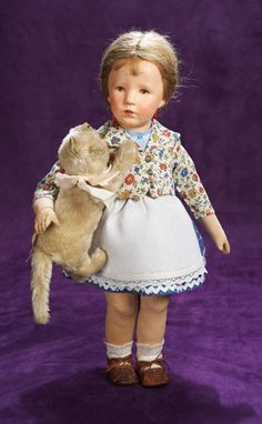 German Cloth Character Girl,Type VIII,by Kathe Kruse cm.) All-cloth doll with swivel head,pressed and oil-painted facial features. Antique Dolls, Vintage Dolls, Realistic Baby Dolls, Velvet Suit, New Dolls, Doll Maker, Hello Dolly, Doll Accessories, Beautiful Dolls