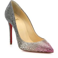 Christian Louboutin Pigalle Ombre Crystal Pumps (14.815 BRL) ❤ liked on Polyvore featuring shoes, pumps, apparel & accessories, pink, swarovski crystal shoes, sparkle shoes, pink sparkly pumps, crystal shoes and christian louboutin