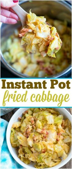 If you love fried cabbage with bacon you can now make it in just 3 minutes using this easy pressure cooker fried cabbage recipe! Love my Instant Pot! pot recipes cabbage World's Best Pressure Cooker Fried Cabbage! Fried Cabbage Recipes, Bacon Fried Cabbage, Chicken Recipes, Shredded Cabbage Recipes, Baked Cabbage, Instant Pot Cabbage Recipe, Instant Pot Dinner Recipes, Instant Recipes, Best Pressure Cooker
