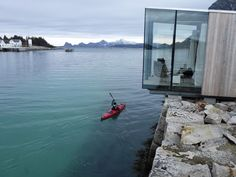 """Stinessen placed each cabin strategically in order to ensure the best unobstructed views and the right amount of privacy. He points out, """"We wanted to emphasize the existing structures and landscape—and to do it without disturbing the stone quay or mountain."""""""