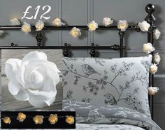 LED rose string lights. 2.86m long string light with 20 roses. Battery operated.  Requires 2xAA batteries (not included).  To order please message me :-) x