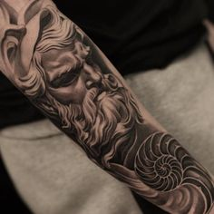 Black and grey ink sleeve by Jun Cha