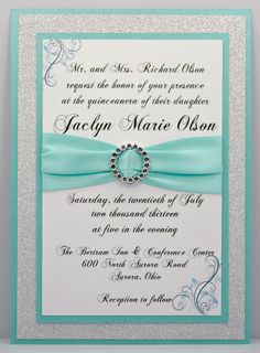 DIY  Print At Home  Aqua Quinceanera/Sweet 16 by InviteBling, $3.35