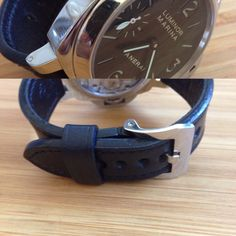 100% handmade Panerai Strap Black in Black, Leather Tannery Masure in Black & Linen thread Lin Cable 532 in Noir