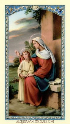 Anne Laminated Prayer Card St Anne & Mary, Our Blessed Mother, as a child. I Love My Mother, Mother Mary, Mothers Love, Funeral Cards, Catholic Pictures, Santa Ana, St Anne, Holy Mary, Catholic Gifts