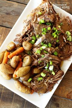 Instant Pot Roast with potatoes and carrots is the perfect Sunday dinner. This Instant Pot version is as tender as a traditional recipe but less than half the time! Pot Roast Recipes, Beef Recipes, Cooking Recipes, Healthy Recipes, Recipies, Bariatric Recipes, Skillet Recipes, Sausage Recipes, Apple Recipes