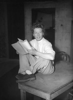 Katharine Hepburn April 1952, rehearsing for the play Millionaire. Katharine: I never realized until lately that women were supposed to be the inferior sex. - a woman ahead of her time.