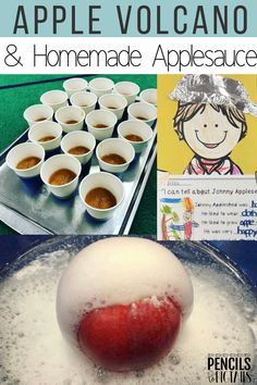 We love studying Johnny Appleseed and creating an apple volcano and homemade crockpot applesauce with these no mess recipes! I'm sharing all kinds of ideas for incorporating Science into your ELA & Math instructional blocks! #kindergarten #scienceforkids #preschool #firstgrade #johnnyappleseed