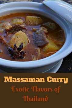 Massaman Currry Recipe. This exotic dish combines spices like cinnamon and star anise with coconut milk and chilies that all come together perfectly. @venturists