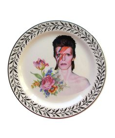 Altered Antique Ceramic Plate X David Bowie