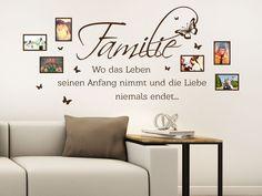 der bekannte spruch ber die familie in funktion eines fotorahmens ist ein originelles wandtattoo motiv fr wohnzimmer schlafzimmer - Wandtattoo Fur Wohnzimmer