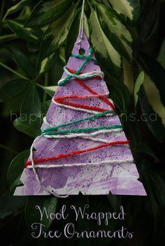 a yarn wrapped christmas tree ornament