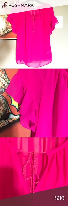 Neon pink blouse Very cute sheer flutter sleeve blouse. Tagged Mk for exposure MICHAEL Michael Kors Tops Blouses
