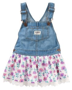 Floral print and eyelet trim ruffles up classic OshKosh overall styling for a charming twist on our genuine article.