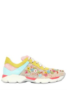 20MM EMBELLISHED LACE SNEAKERS Rene Caovilla