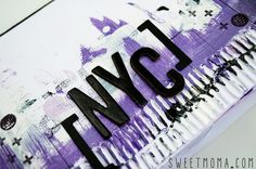 Elena nos presenta un Mini álbum desestructurado de NYC, jugando con diversos sellos y washi tapes. Además no falta pequeños toques de mix media