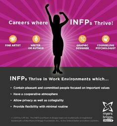 The careers and workplaces where INFPs thrive!  #MBTI #myersbriggs #careers