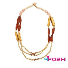 Hasini - Necklace -beautiful necklace accented by 3 strands of warm tones of gold, reds and amber beading.  The Safari Collection by POSH!