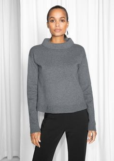 & Other Stories image 2 of Wide Collar Sweater in Dark Grey