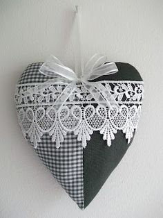 Black and White Fabric and Lace Heart Valentines Day Hearts, Valentine Heart, Valentine Crafts, Christmas Crafts, Lavender Bags, Lavender Sachets, Sewing Crafts, Sewing Projects, Fabric Hearts