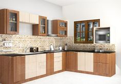 Ideas for kitchen furniture design modern cuisine Small Kitchen Cabinet Design, Kitchen Cabinets Color Combination, Simple Kitchen Cabinets, Kitchen Room Design, Modern Kitchen Design, Kitchen Layout, Interior Design Kitchen, Diy Kitchen, L Shape Kitchen