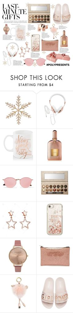 """""""#PolyPresents: Last-Minute Gifts"""" by lisjade ❤ liked on Polyvore featuring Forever 21, Bloomingdale's, Tom Ford, Ray-Ban, Laura Geller, Kate Spade, Olivia Burton and Steve Madden"""