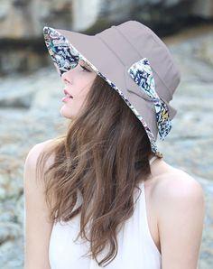 #AdoreWe #VIPme Hats & Caps - Designer Thantrue Gray Floral Printed Bowknot Floppy Sun Hat With Neck Cord - AdoreWe.com