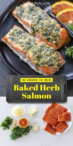 This baked herb salmon is filled with flavor and perfect for a family dinner. This salmon always turns out moist and delicious and will be done in under 30 minutes. This recipe makes for the easiest dinner recipe and will become a staple in your weekly dinner rotation. This salmon gets a delicious herb crust with a juicy center. #easydinnerrecipes #dinnerrecipes #dinnerideas #easydinnerideas #dinnerinunder30 #salmonrecipes #herbsalmon #bakedsalmon #salmondinnerrecipe