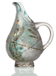 Emile Gallé An Internally-Decorated, Enameled, Gilt-Decorated and Acid-Etched Glass Ewer, circa 1900 cm high) Art Nouveau, Glass Ceramic, Glass Vase, Glass Pitchers, Vases, Acid Etched Glass, Bohemian Art, Objet D'art, Stained Glass Art