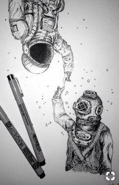 Underwater and Space, such a cool and beautiful art piece Art And Illustration, Art Et Design, Graffiti Tattoo, Creation Art, Desenho Tattoo, Pen Art, Cool Drawings, Space Drawings, Space Artwork